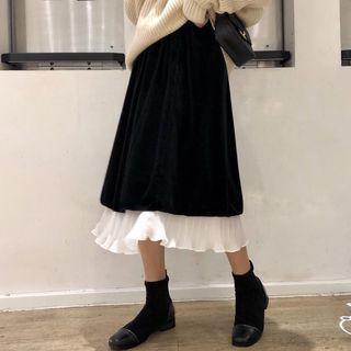 A-line Frill Hem Midi Velvet Skirt Black - One Size