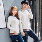 Couple Matching Striped Trim Sweater