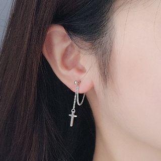 925 Sterling Silver Cross Dangle Earring 1 Pair - Earring - One Size