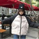 Two-tone Padded Hooded Zip-up Jacket