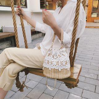 Lace Paneled Woven Bucket Bag