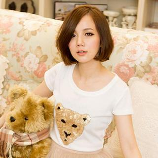 Short-sleeve Sequined T-shirt