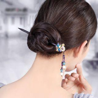 Retro Faux Pearl Cloisonne Butterfly Hair Stick