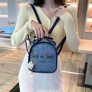 Lettering Linen Convertible Backpack