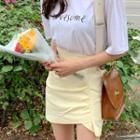 Ruched Linen Miniskirt