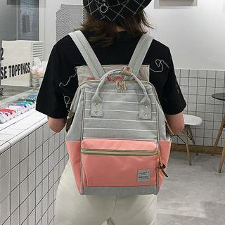 Couple-matching Paneled Canvas Backpack