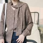 Dotted Long Sleeve Shirt With Neck Tie