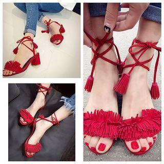 Tasseled Block Heel Sandals