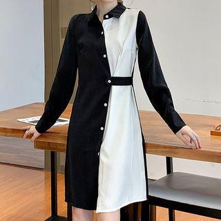Asymmetric Paneled A-line Shirtdress