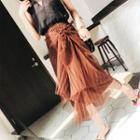 Lace-up Pleated Maxi Skirt