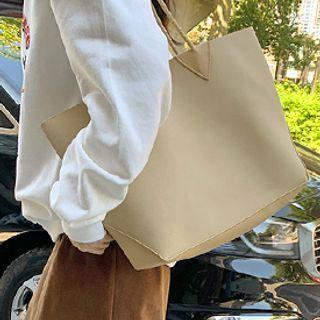 Suedette Tote With Pouch