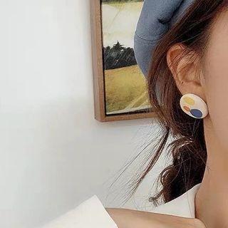 Printed Disc Earring 1 Pair - S925 Silver Needle - Orange & Yellow & Blue Circle - White - One Size