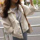 Pocket Detail Denim Jacket White - One Size