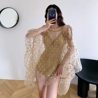 Set: Lace Trim Swimsuit + Bell-sleeve Cold-shoulder Mesh Top