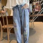 Embroidered Distressed Baggy Jeans