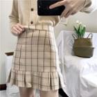 Ruffle Hem Checked Skirt