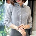 Pinstripe Shirt/ Pencil Skirt