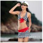 Set: Striped Bikini + Swim Skirt
