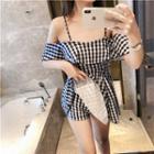 Cold-shoulder Elbow-sleeve Gingham Swim Dress
