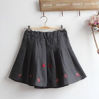Strawberry Embroidered Pleated Mini Skirt