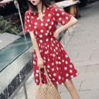 Short Sleeve Polka Dot V-neck Dress