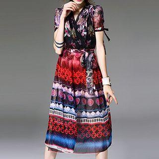 Printed Short Sleeve Midi Chiffon Dress