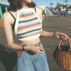 Halter Backless Stripe Knit Top