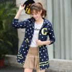 Dotted Hooded Drawstring Long Jacket