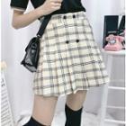 Button Plaid Pleated Mini Skirt