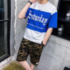 Set: Short-sleeve Lettering T-shirt + Camo Shorts