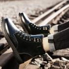 Stitched Panel Lace-up Ankle Boots