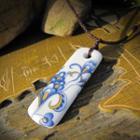Ceramic Pendant Necklace Blue & White - One Size