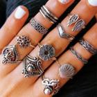 Set Of 12: Alloy Ring (assorted Designs) Set Of 12 - One Size