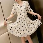 Heart Short-sleeve Chiffon Dress