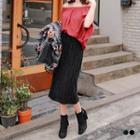 Sheeny Velvet Pleated Midi Skirt