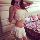 Set: Lace Bikini Top + Swim Skirt