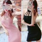 Cut-out Halter-neck Mini Sheath Dress