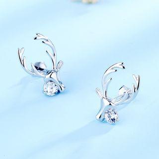 925 Sterling Silver Rhinestone Deer Earring 1 Pair - 925 Silver - White - One Size