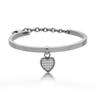 White Pyramid In Heart Bangle Steel - One Size