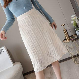 Midi Perforated A-line Knit Skirt