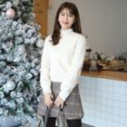 Floral-embroidered Wool Blend Furry Sweater