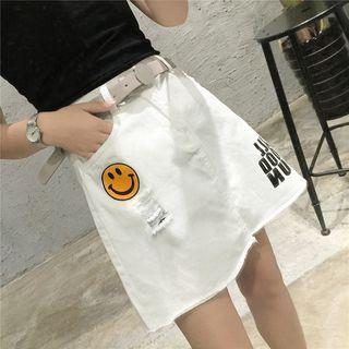 Smiley A-line Denim Skirt
