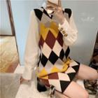 Argyle Knit Vest / Plain Shirt