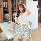 Ruched Front Chiffon Top / Floral Mushroom Pleated Mini Skirt