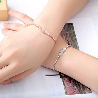 Copper Rhinestone Leaf Bracelet