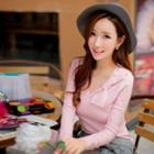 Long-sleeve Bow-accent Knit Top