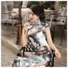 Short-sleeve Long Silk Qipao