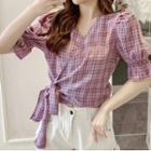 Short-sleeve Wrap Plaid Blouse