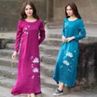 Long-sleeve Floral A-line Maxi Dress
