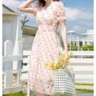 Short-sleeve Heart Printed Chiffon Dress